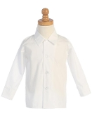 Boy's White Long Sleeve Shirt
