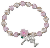 Communion White & Pink Pearl Hearts Stretch Bracelet