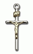 "Sterling Silver Two-Tone Crucifix on 18"" Necklace"