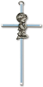 Brass Cross w/Blue Inlay and Praying Boy 6""