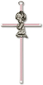 Brass Cross w/Pink Inlay and Praying Girl 6""