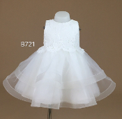 Teter Warm Ivory Infant Dress w/Rhinestone Bow