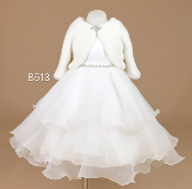 Teter Warm Ivory Infant Dress w/Rhinestone Belt