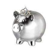 Prinz Silver Piggy Bank w/Crown