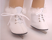 "18"" Doll White Furry Skates"