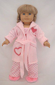 "18"" Doll Pink Bathrobe and Slippers"