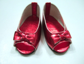 "18"" Doll Red Metalic Open Toe Shoe"