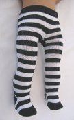 "18"" Doll Black/White Striped Tights"