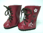 "18"" Doll Flowered Lace Up Boots"