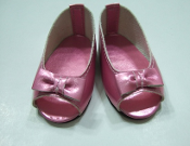 "18"" Doll Pink Metallic Open Toe Shoes"
