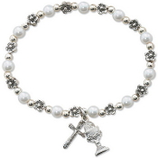 Communion White Pearl Hearts and Flowers Stretch Bracelet