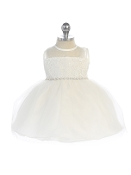 Infant Illusion Neckline and Rhinestone Trim Waist Dress