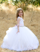 White Tulle Dress with Pink Belt and Train