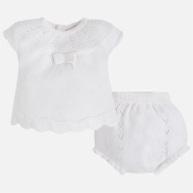 Mayoral Newborn baby girl Knit Shirt and Bloomer Set