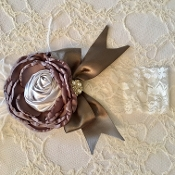 White Lace Headband w/Grey Satin Flower/Bow & Feather
