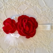 White FOE Headband w/Red & White Satin Flowers