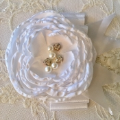 White Lace Headband w/White Satin Flower/Bow