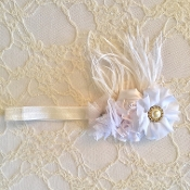 White FOE Headband w/Satin Flowers/Ostrich Feather