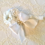 White Lace Headband w/Rolled Satin Roses/White Bow & Veil