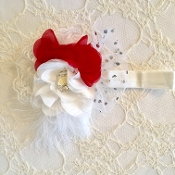 White FOE Headband w/White/Red Flowers/Lace/Feather