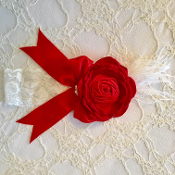 White Lace Headband w/Red Satin Flower/Bow & Feather