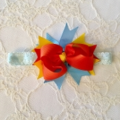 Blue Lace Headband w/Rainbow Boutique Bow