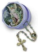 Guardian Angel Blue Rosary in Keepsake Box