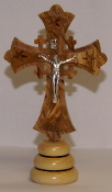 Holy Land Olive wood Cross on Base