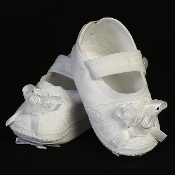 Cotton girl's christening bootie