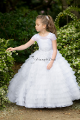 Gorgeous White ruffle tulle flower girl dress