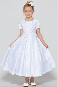 White Satin Dress with Embroidered Belt,Communion,Communion Dress,First Holy Communion,First Holy Communion Dress,First Holy COmmunion Suit,Communion Suit Mississauga,Communion Dress Mississauga,Communion