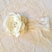 White Lace Headband w/Ivory Satin Roses/Ostrich Feather