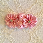 Pink Satin Rosettes Clip