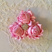 Pink Satin Triple Rose Hair Clip