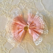 Large Pink Vintage Bow Hair Clip