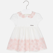 Mayoral Baby girl embroidered tulle short sleeve dress