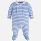 Mayoral Baby boy striped velour pyjamas