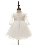 Off White Baby Long Sleeve Tulle Dress w/Pearl Belt