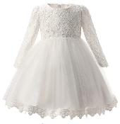 Off White Baby Long Sleeve Lace Bodice/Tulle Skirt Dress
