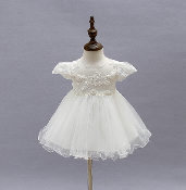 Infant Lace Applique Dress w/Pearls/Bonnet