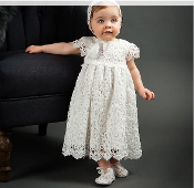 Off White Baby Crochet Baptism Gown w/Bonnet