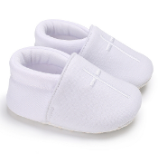 White Slip On Baby Shoe w/White Emb.Cross
