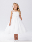 Girls Illusion Neckline Dress with Heart Keyhole Back
