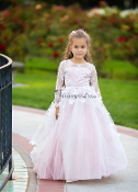 White with Pink Underlay Tulle Gown