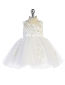 Infant Illusion Neckline with 3D Lace Dress