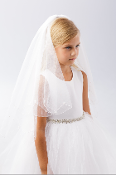 Plain Veil with Scalloped Cord Edging Lace Flower and Pearl Bead
