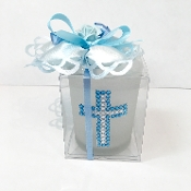 Glass Votive Holder Blue Cross Bomboniere