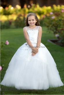 Girls Lace Applique Dress with Front Bow