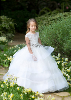 Girls 3D Lace Flower Girl Dress