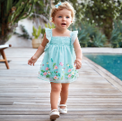 Mayoral Baby girl Tulle Dress with Embroidery
